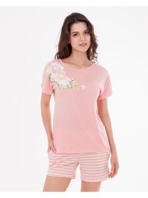 Комплект одежды: футболка, шорты Mark Formelle. Цвет: молочный, розовый