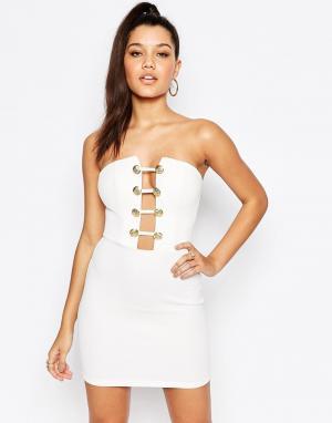 Rare Платье в стиле милитари с глубоким вырезом London. Цвет: белый