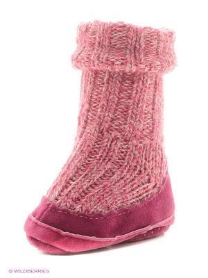 Тапочки- носки противоскользящие BROSS. Цвет: фуксия