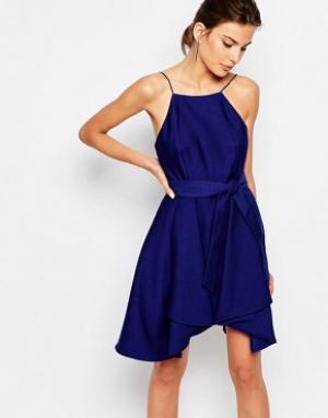 C/meo Collective Платье мини с завязкой на талии. Цвет: синий