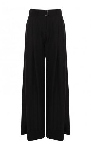 Однотонные расклешенные брюки с поясом и защипами Ann Demeulemeester. Цвет: черный
