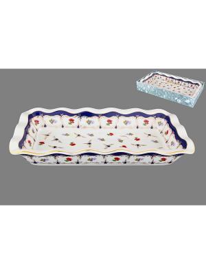 Блюдо для заливного Цветочек Elan Gallery. Цвет: белый, красный, синий