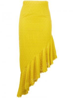 Асимметричная юбка Daizy Shely. Цвет: жёлтый и оранжевый