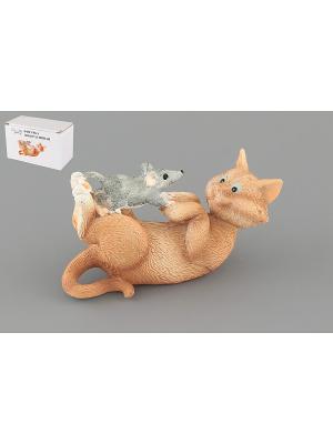 Фигурка декоративная Кот с мышкой Elan Gallery. Цвет: светло-коричневый, серый