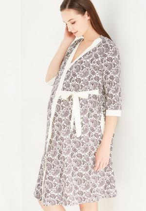 Комплект халат и сорочка Hunny mammy. Цвет: бежевый
