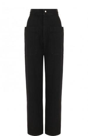 Хлопковые брюки с завышенной талией и накладными карманами Isabel Marant Etoile. Цвет: темно-серый