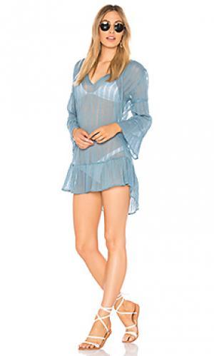 Туника ruffle Vix Swimwear. Цвет: синий