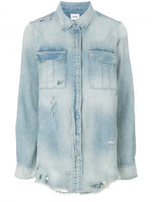 Состаренная джинсовая рубашка Hudson. Цвет: синий