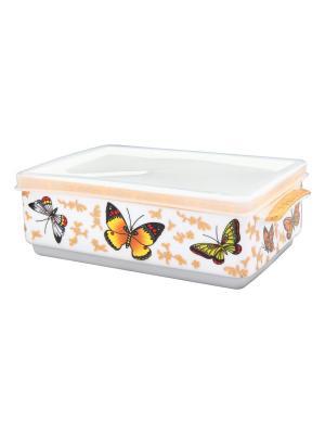 Блюдо для холодца Бабочки  с крышкой Elan Gallery. Цвет: белый, золотистый