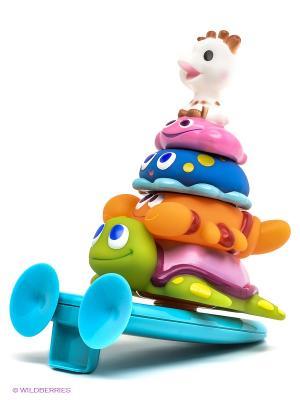 Игровой набор для ванны Пирамидка Sophie la girafe. Цвет: белый, синий, голубой, оранжевый