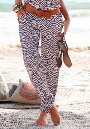 Пляжные брюки Lascana. Цвет: коричневый с рисунком, лиловый/песочный, цвет баклажана, черный, черный/белый