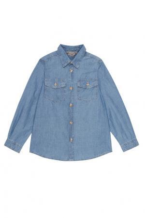 Джинсовая рубашка Bonpoint. Цвет: голубой