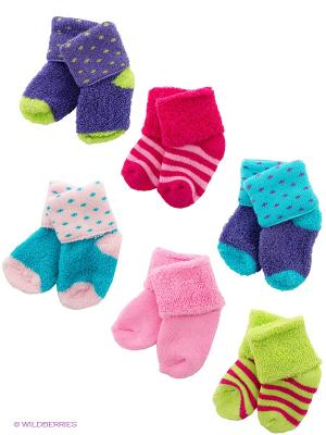 Носки, 6 пар Luvable Friends. Цвет: голубой, розовый, салатовый, фиолетовый