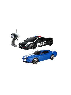Р/у 1:16 Police Pack Gallardo VS Challenger SRT8 Машина на батарейках, в коробке AULDEY. Цвет: черный, синий, белый