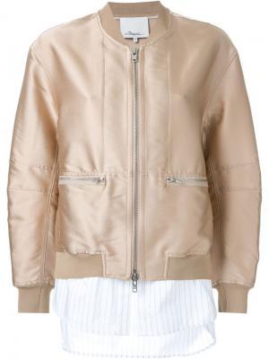 Стилизованная куртка-бомбер 3.1 Phillip Lim. Цвет: коричневый