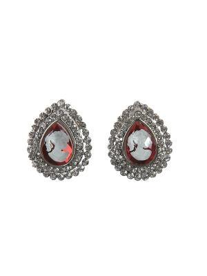 Серьги Happy Garnets. Цвет: красный, серебристый, белый