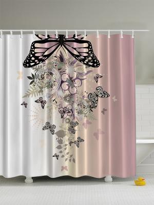 Фотоштора для ванной Цветочная феерия, 180*200 см Magic Lady. Цвет: бежевый, молочный, белый, черный, оливковый
