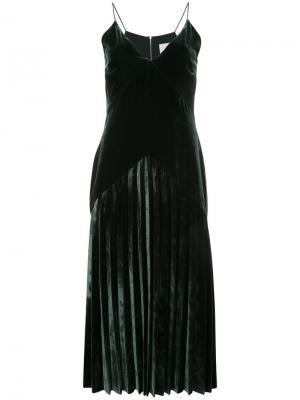 Бархатное платье Dion Lee. Цвет: зелёный