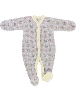 Комбинезон с закрытыми ножками для новорожденных Рыжий Лис. Цвет: светло-серый, светло-желтый