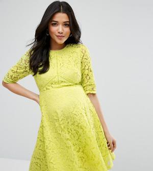 ASOS Maternity Короткое приталенное платье из кружева для беременных. Цвет: желтый