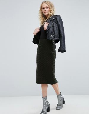 ASOS Бархатная стеганая юбка-карандаш. Цвет: зеленый