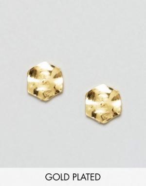 Gorjana Позолоченные серьги-гвоздики в форме шестигранника. Цвет: золотой
