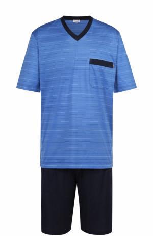 Хлопковая пижама с шортами Zimmerli. Цвет: голубой