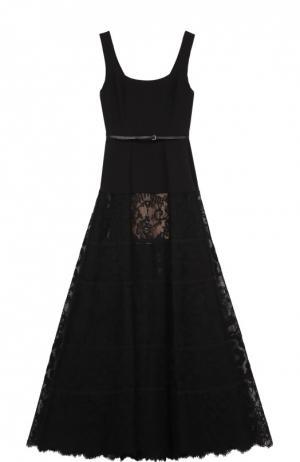 Приталенное платье с пышной кружевной юбкой Elie Saab. Цвет: черный