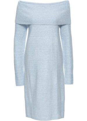 Вязаное платье с открытыми плечами (нежно-голубой меланж) bonprix. Цвет: нежно-голубой меланж