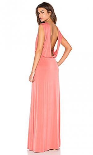 Платье-макси с открытой спиной Hoss Intropia. Цвет: румянец