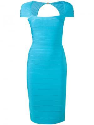 Облегающее платье Hervé Léger. Цвет: синий