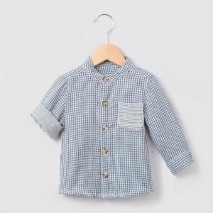 Рубашка в клетку, 1 мес. - 3 года R essentiel. Цвет: в клетку  синий/ белый