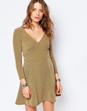 Free People Платье мини. Цвет: коричневый