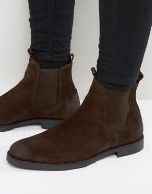 Zign Замшевые ботинки челси. Цвет: коричневый