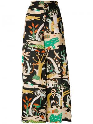 Широкие брюки с принтом животных Jucca. Цвет: чёрный