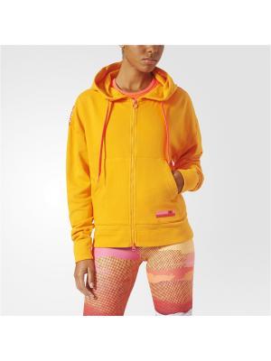 Толстовка худи жен. ZIP HOODIE MESH Adidas. Цвет: оранжевый