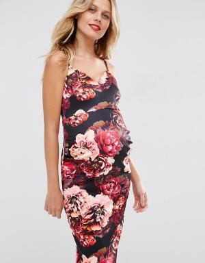 ASOS Maternity Платье миди для беременных с глубоким вырезом и цветочным принтом. Цвет: мульти