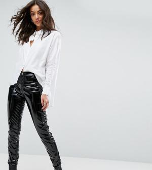Glamorous Tall Блестящие брюки скинни. Цвет: черный