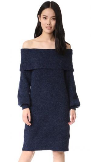 Платье-свитер Sierra с открытыми плечами Designers Remix. Цвет: темно-синий
