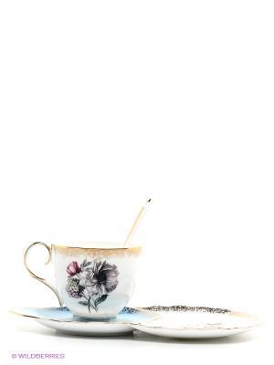 Чайная пара Цветок Неаполя Pavone. Цвет: белый, голубой