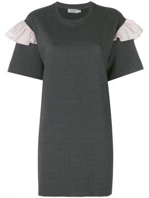 Frill sleeve T-shirt dress Anna K. Цвет: серый