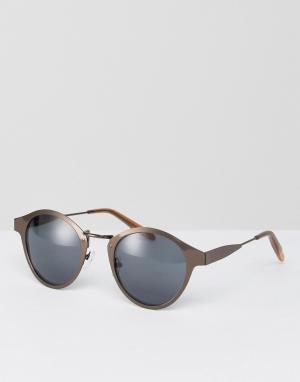ASOS Круглые солнцезащитные очки в матовой оправе медного оттенка. Цвет: коричневый