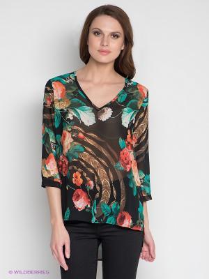 Блузка DRS Deerose. Цвет: черный, зеленый, розовый