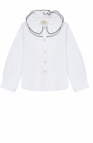 Хлопковая блуза с декоративным воротником и контрастной отделкой Caf. Цвет: белый