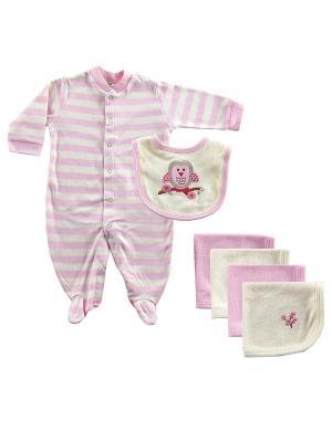 Комплект Комбинезон и Салфетки Hudson Baby. Цвет: розовый