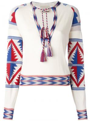 Блузка с кисточками Laneus. Цвет: красный