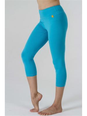Леггинсы женские 3/4 Капри yogadress. Цвет: бирюзовый