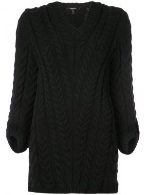 V-Neck Cable Knit Sweater Derek Lam. Цвет: чёрный