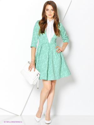 Платье MARY MEA. Цвет: салатовый, белый
