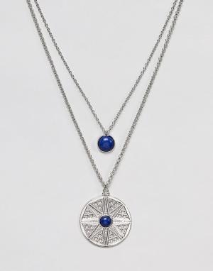 ASOS Многорядное ожерелье с подвесками DESIGN. Цвет: серебряный